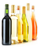 Composition with variety of wine bottles on white Stock Photography