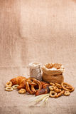 Composition of various baked products Stock Photos