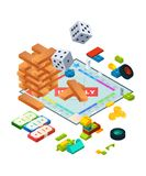 Composition of various boards games. Isometric background pictures of board games vector illustration