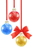 Composition with various color Christmas baubles Royalty Free Stock Photography