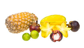Composition of various exotic fruits Royalty Free Stock Photos