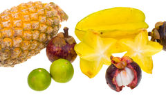 Composition of various green exotic fruits Stock Photography