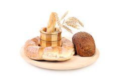 Composition of various healthy bread. Stock Photos