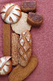 Composition of various kinds of bread. Royalty Free Stock Image