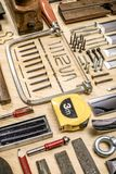 Composition of various mechanical tools related to the trade of carpenter royalty free stock photos