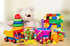 Composition of various toys on blurred background Stock Photography