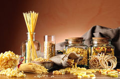 Composition with various types of pasta overview Royalty Free Stock Images