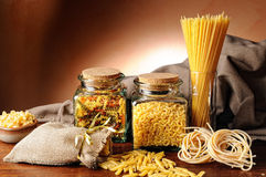 Composition with various types of pasta Stock Photos