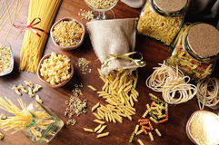 Composition with various types of pasta top view and overview Royalty Free Stock Image