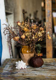 Composition of a vase filled with withered flowers, rapana and a pomegranate. An artistic composition of a vase filled with withered flowers, rapana and a Stock Photos