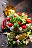 Composition with vegetable salad bowl. Balanced diet Stock Images