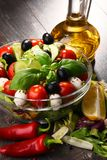 Composition with vegetable salad bowl. Balanced diet Royalty Free Stock Images
