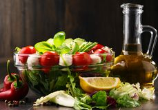 Composition with vegetable salad bowl. Balanced diet Royalty Free Stock Photos