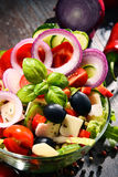 Composition with vegetable salad bowl. Balanced diet Royalty Free Stock Photo