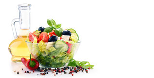 Composition with vegetable salad bowl. Balanced diet Royalty Free Stock Photography