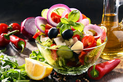 Composition with vegetable salad bowl. Balanced diet Royalty Free Stock Image