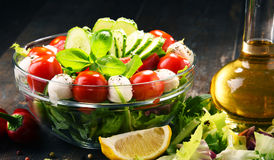 Composition with vegetable salad bowl. Balanced diet Stock Photos