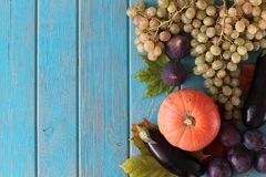 Composition of vegetables on blue wooden desk. Stock Photos