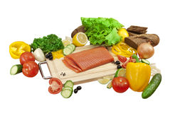 Composition of vegetables and salmon Royalty Free Stock Images