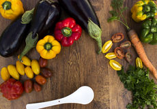 Composition with vegetables on a wooden background. Royalty Free Stock Photos