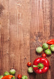 Composition of veggies on wood Stock Photos