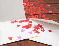 Composition vide en carte de valentine Images libres de droits