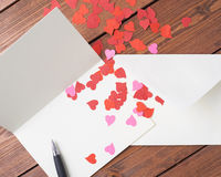 Composition vide en carte de valentine Photos libres de droits