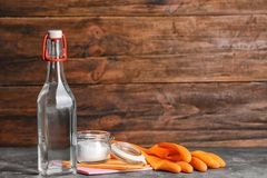 Composition with vinegar, baking soda stock image