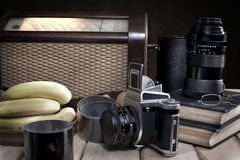 Composition with vintage items on table Stock Photo