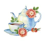 Composition with vintage porcelain teapot, cup and wild roses. Stock Photography