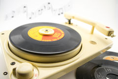 Composition with vintage record player and records Stock Images