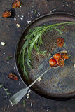 Composition on vintage scraped tray with backed cherry tomatoes Royalty Free Stock Photography