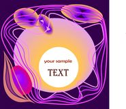 Abstract composition in orange,purple and pink tones. Composition on violet background absract shapes in orange,pink and white stock illustration