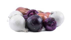 Composition of violet - blue, white and ocher onions on a white background Royalty Free Stock Photo