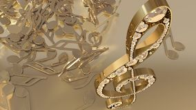 3D rendering of a musical treble clef and falling notes. Composition of voluminous musical signs. 3D rendering of a musical treble clef and falling notes Stock Photo