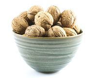 Composition of walnuts in a green cup on a white background Stock Images