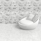 Composition with whait armchair. White armchair on a newspaper background wallpaper on a white floor Stock Images