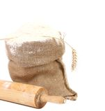 Composition of wheat flour in sack. Royalty Free Stock Photo
