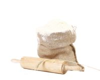 Composition of wheat flour in sack. Stock Image
