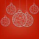 Composition of white christmas balls in retro style with text . Composition of white christmas balls in retro style with text set stock illustration