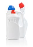 Composition of white kitchen bottles Royalty Free Stock Images