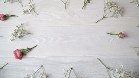Composition of white and pink flowers rustic style, for St. Valentine`s Day with a place for your text. Flat lay, top. View stock footage