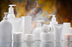 Composition of white skincare items Royalty Free Stock Photography