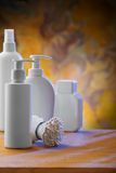 Composition of white skincare items Stock Image
