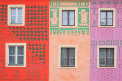 Composition of windows. Simple composition of windows with different patterns on the wall Royalty Free Stock Image