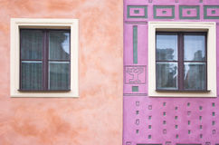 Composition of windows. Simple composition of windows with different patterns on the wall Stock Photo