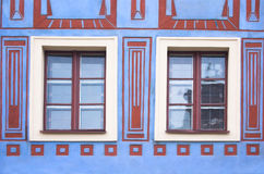 Composition of windows. Simple composition of windows with different patterns on the wall stock photos
