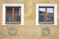 Composition of windows. Simple composition of windows with different patterns on the wall Royalty Free Stock Photography