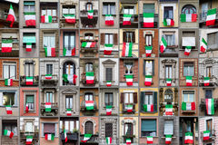 Composition of windows with Italy flags Stock Image