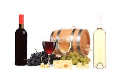Composition of wine cheese and grapes. Royalty Free Stock Photo